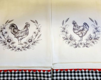 Embroidered Hen and Rooster Floursack Towel 4 Piece Set