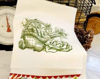 Embroidered Vintage Style Floursack Towel 2 Piece Set
