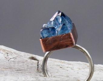 Tanzine Quartz Crystal Copper and Silver Ring