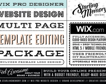 WIX TEMPLATE EDITING Multi-Page Package - Includes PreMade Logo Design - Wix WebDesign Template Package - Wix Pro - Wix Webdesign Package