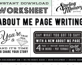 DIY ABOUT ME Page Worksheet - Business Worksheet - Blog Worksheet - Creative Coaching Worksheet - Marketing Worksheet - Writing Worksheet