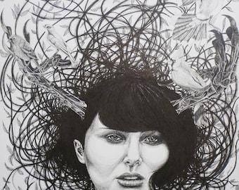 Original pen drawing by Damian Smith / Spiritual fantasy pop surrealism art / interior design / nature art lover / Australian art / wall art