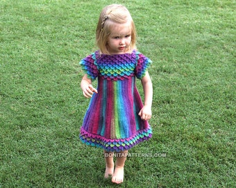 CROCHET PATTERN: Crocodile Dragon Stitch Girly Dress - Permission to Sell Finished Product