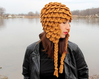 CROCHET PATTERN: Crocodile Stitch Earflap Hat (Adult Size) - Permission to Sell Finished Product