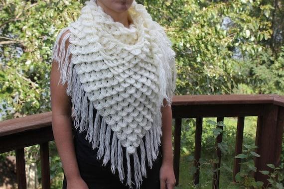 Crochet Pattern Crocodile Stitch Triangle Shawl Permission Etsy