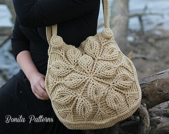 Crochet PATTERN - 3D Embossed Garden Handbag