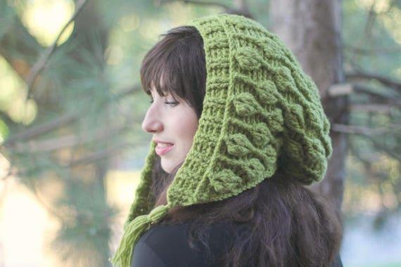 New Crochet Pattern Embossed Leaves Hooded Hat Hood Had Etsy