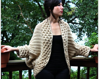 CROCHET PATTERN: Crocodile Stitch Cardigan - Small to 5X - Permission to Sell Finished Product