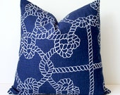 Navy Blue and White Nautical knots Decorative Designer Pillow Cover Accent Throw Cushion lake cottage rope modern