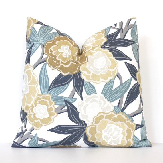 80161e97b81 Blue Peony Floral Designer Pillow Cover accent cushion flowers