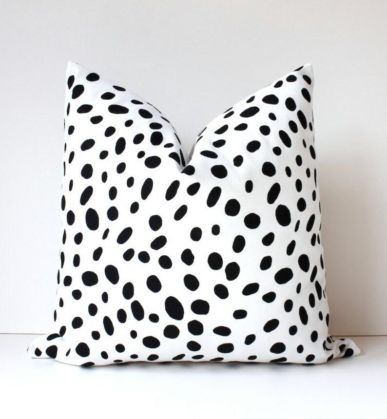 Spotted Black & White Decorative Designer Pillow Cover Accent image 0