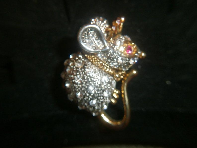 Vintage Mouse Rhine Stone Costume Ring size 7