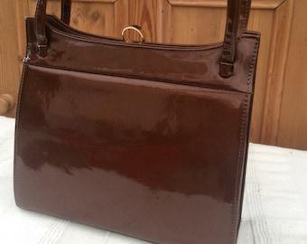 Vintage Patent Bag - 1960s Leather Bag - Brown Patent Bag - Vintage Kelly Bag - Vintage Holmes Bag - Patent Handbag - Frame Handbag