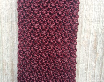Vintage Crochet Tie - Men's Burgundy Tie - Flat End Tie - Square End Tie - Skinny Knit Tie - Burgandy Necktie