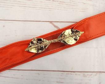Vintage Leather Belt - Orange Leather Belt - Gold Buckle Belt - Leaf Belt - High Waist Belt - Real Leather Belt - Orange Belt