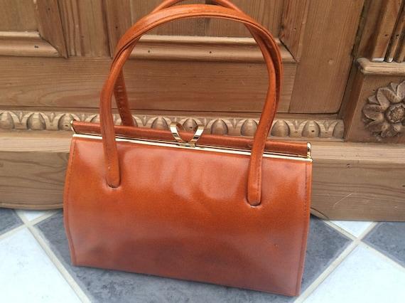 Orange Frame Handbag - 1960s Orange Bag - Bright O