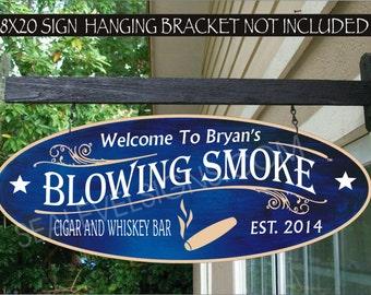 CIGAR Smoker Man Cave Gift Aluminum Custom Personalized Sign