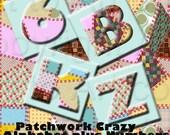 PATCHWORK Squares Alphabet DIGITAL COLLAGE sheet Images (198) make tiles, pendants, jewelry, crafts, scrapbooking, printable ABCs