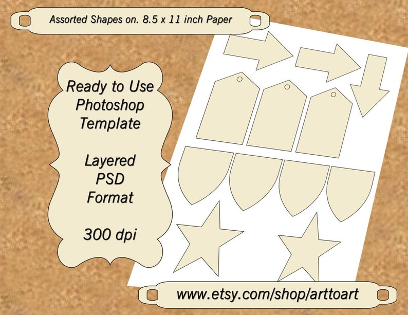 Shapes Arrows Tags Digital TEMPLATE COLLAGE Labels stickers Stars Shields  PSD format Add Your images diy 356
