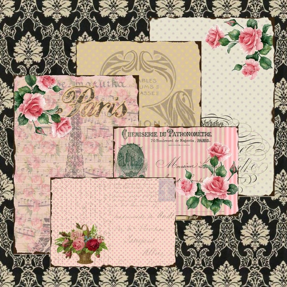 Shabby Chic Vintage FRENCH Paris Ephemera BACKGROUND Papers