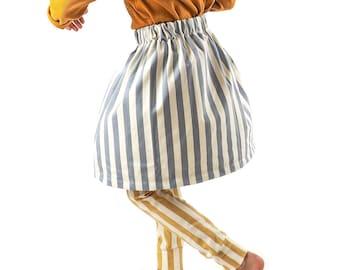Basic skirt sewing pattern for kids, size range 6-14 years, easy fast sew, pdf download, pattern btK008