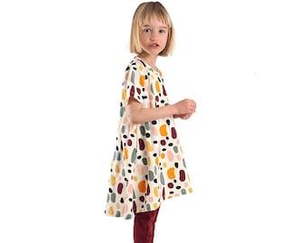 T-shirt dress sewing pattern, size range 6-14 years, modern dress pattern, BTK010