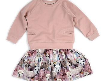 Girls dress sewing pattern, gathered skirt raglan top, pdf download, photo tutorial, pattern 112