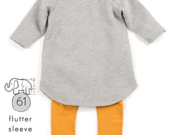 Flutter sweatshirt dress pattern // instant pdf download // photo tutorial // 0M-6T // #61