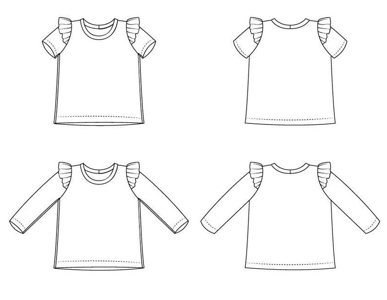 Girls flutter sleeve tee // pdf pattern download // long, short or 3/4  sleeve // 0M to 6T // #57