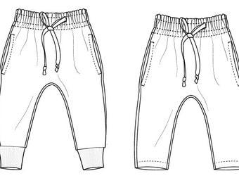 Kids joggers pants pdf pattern //  pdf dowload // photo tutorial // 0-3M to 5-6T // #54