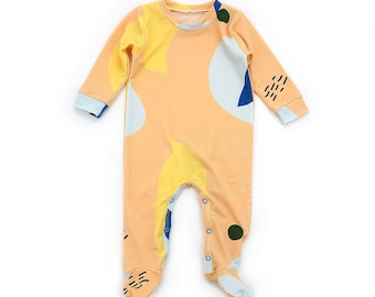 Essential coverall sewing pattern for babies, footie and cuff style, pattern 130, sizes Preemie to 6T