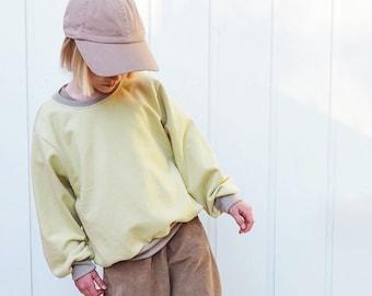 vintage style sweatshirt sewing pattern download, sizes 6-14 years, K015