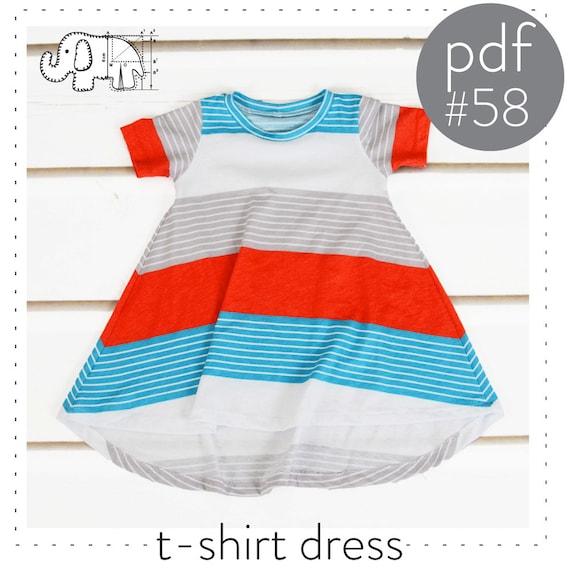 Tshirt dress pattern // flared curved hem // pdf instant | Etsy