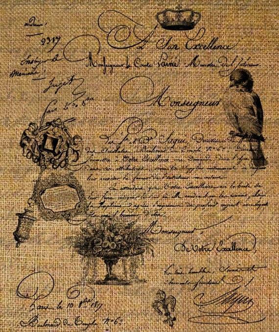 Paris Birds Flowers French Text Script Digital Image Download Sheet Transfer To Pillows Totes Tea Towels Burlap No 1738