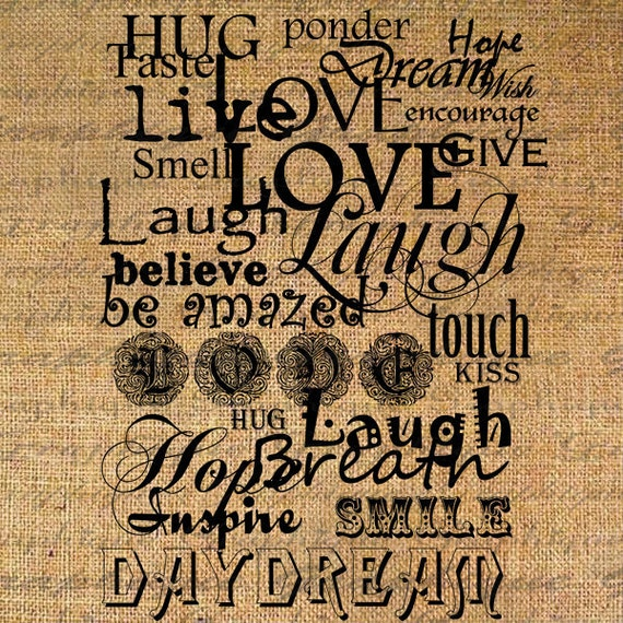 Live Love Laugh Quote Word Typography Digital Image Download Transfer To  Pillows Totes Tea Towels Burlap No. 2287