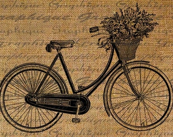 Digital Download Collage Sheet Burlap Transfer Vintage BICYCLE Basket Flowers Ribbons Bike Iron On T-SHIRTs Fabric Pillows Totes 1804
