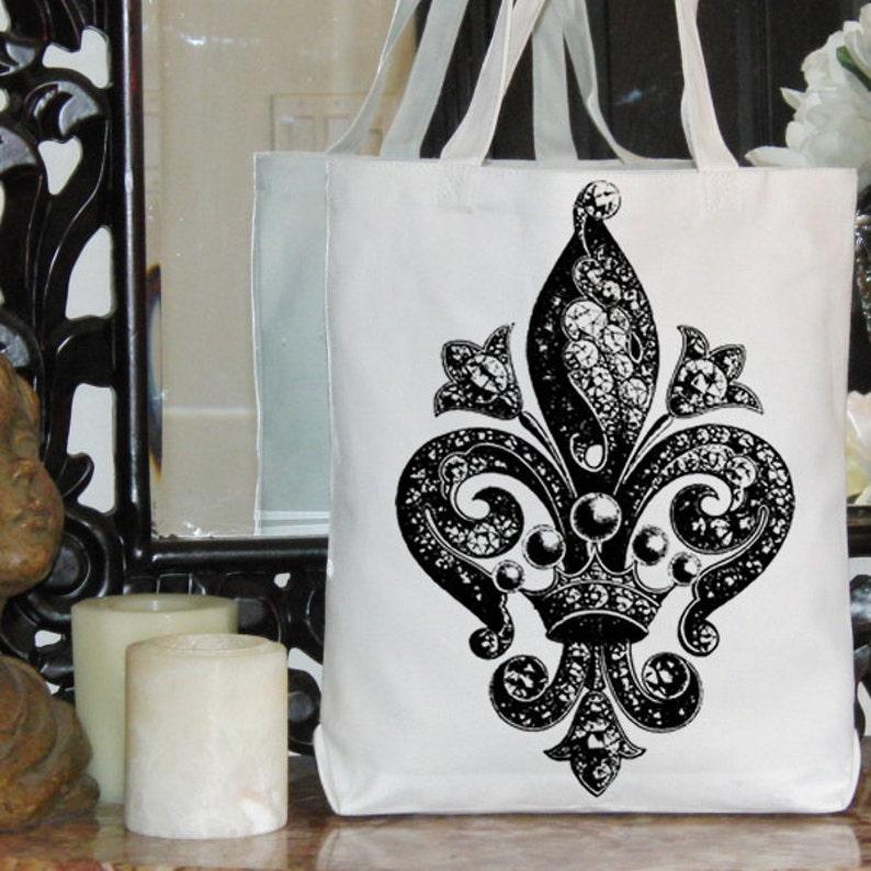 2552 Fleur de Lis Ornate Intricate Design French Jewels Crown Digital Image Download Sheet Transfer To Pillows Tote Tea Towels Burlap No