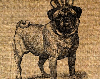 PUG Dog Fawn Color w CROWN Breed Dogs Canine Digital Collage Sheet Download Burlap Fabric Transfer Iron On Pillows Totes Tea Towels No. 4240