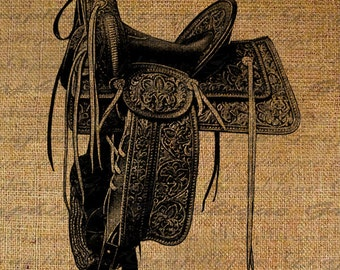 Vintage Western Cowboy Saddle Horse Equestrian Tooled Leather Farm Digital Image Download Transfer To Pillows Tote Tea Towels Burlap No.2562
