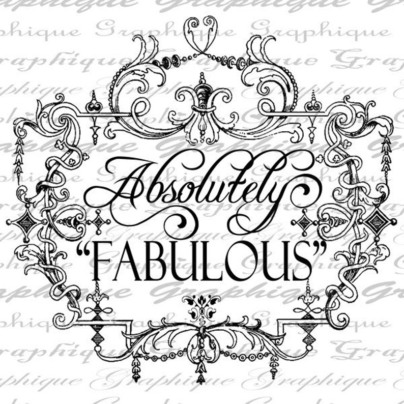 Absolutely Fabulous Words Quote Text Word Ornate Frame Digital Image Download Sheet Transfer To Pillows Totes Tea Towels Burlap No 2334