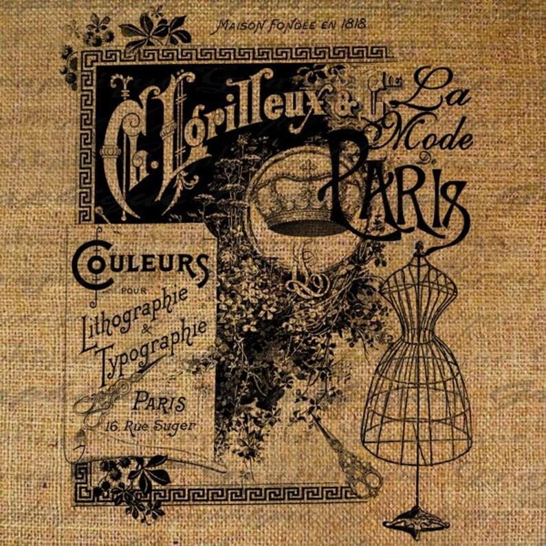 French Paris Vintage Fashion Dress Form Words Text Digital Image Download  Transfer To Pillows Tote Tea Towels Burlap No  2132