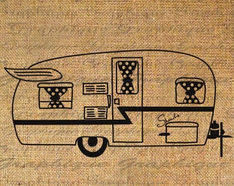 Vintage Travel Trailer Camper RV Camping Digital Collage Sheet Download Burlap Fabric Transfer Iron On Pillows Totes Tea Towels No. 5111