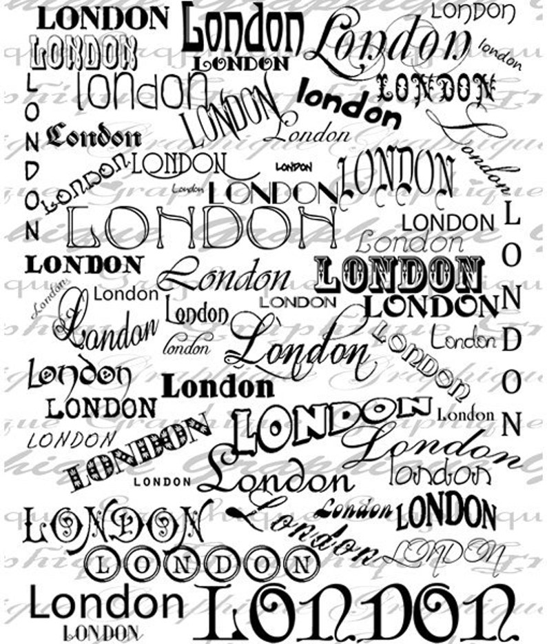 London English England City Words Text Word Art Script Writing Digital Image Download Transfer For Pillows Totes Tea Towels Burlap No 2546