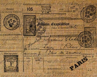 French Paris La France Postcard Writing Stamp Postmark Postmarks Digital Image Download  Transfer To Pillows Totes Towels Burlap No. 2355