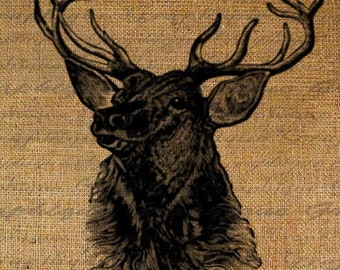 Elk Head Large Antlers Animal Image Download Transfer To Pillows Tote Tea Towels Burlap No. 2125