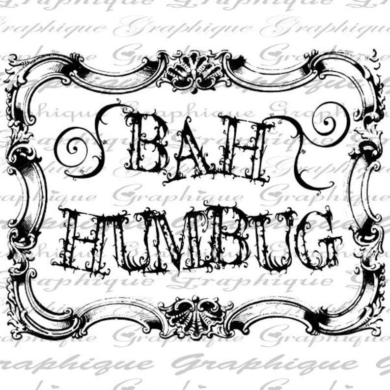 Digital Burlap Collage Sheet Download Sheet Fabric Transfer Christmas BAH HUMBUG Text Frame Xmas Iron On Pillows Totes Tea Towels 3012