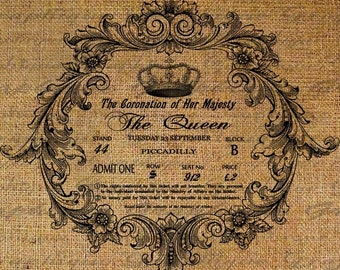 Coronation Of The Queen Invitation Ornate Frame Crown Image Download Transfer To Pillows Tote Tea Towels Burlap No. 2153