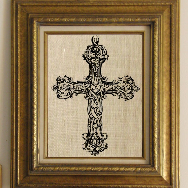 Antique Scroll Patterns: Digital Collage Sheet Antique Cross With Scroll Work