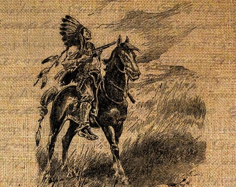 Digital Burlap Collage Sheet Download Fabric Transfer NATIVE AMERICAN Proud CHIEF Headdress Horse Iron On Pillows Totes Tea Towels No. 3019