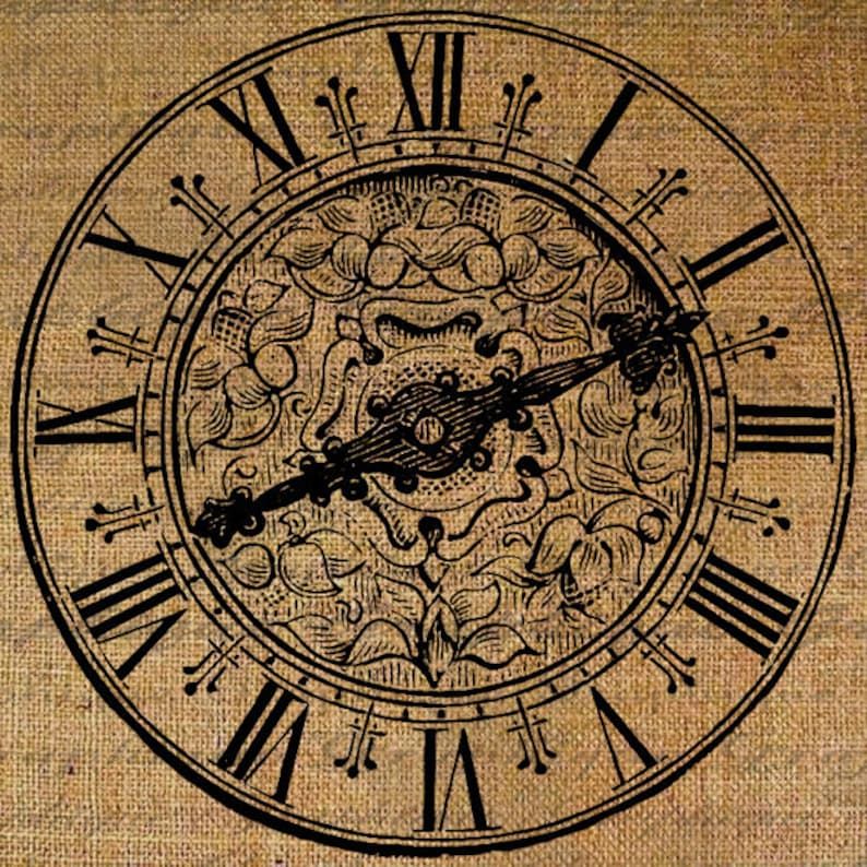 Large Clock Face Roman Numerals Ornate Time Digital Image Etsy